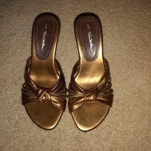 Bronze Thom McAn Size 5 sandals.